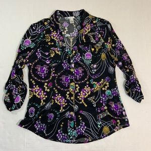 Cache Jewelry Print Snap Button Blouse Top L